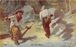 Cattle Thieves Rustlers Cowboy Western artist F W Schultz postcard