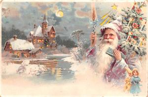 Santa Claus Hold To Light Post Card Old Vintage Antique 1903 Missing Stamp