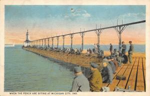 Michigan City Indiana~When the Perch are Biting~Old Fishermen Line Pier~1920s PC