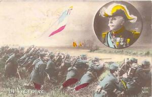 WWI French Patriotic - La Victoire - Color Tinted Vintage Postcard Used
