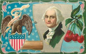 Artist impression Patriotic President Washington Birthday Postcard 8781