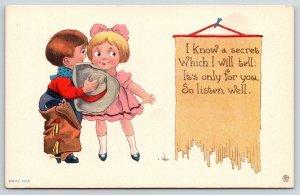 Bernhardt Wall~Cowboy Whispers Secret to Little Girl Behind Hat~Listen Well~1912