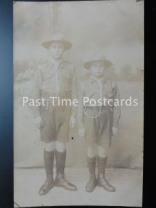 Studio Portrait TWO BOY SCOUTS in UNIFORM - Jack & Albert Prior c1919 RP