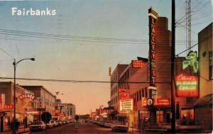 1950 Neon Second Ave FAIRBANKS ALASKA Nordale Hotel Lacey Theater Postcard 1968