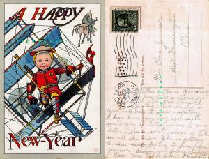 1912 New Year Postcard: Boy Pilots Fantasy Biplane, Signed C. Bunnell Art