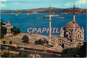 Postcard Modern Istanbul Turkey The Mosque of the Bosphorus boat and Dolmabahre