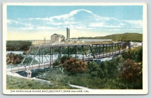 Salinas California~Spreckels Sugar Beet Refinery~Railroad Bridge Foreground~'20s