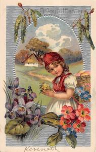 Easter Greeting Little Girl Picking Flowers Antique PFB Postcard V19883
