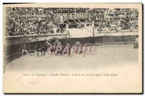 Old Postcard Bullfight Bullfight Picador giving out the bull after the & # 39...