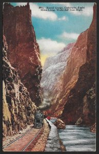 Train by River The Royal Gorge Colorado Unused c1910s