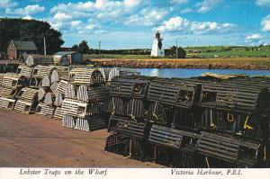 Lobster Traps on the Wharf, VICTORIA HARBOUR, Prince Edward Island, 50-70's