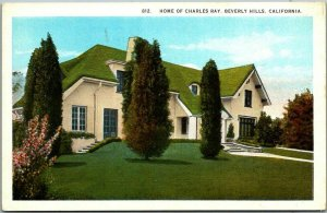 Beverly Hills CA STARS' HOMES Postcard Home of Charles Ray Silent Film Actor