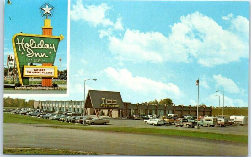 Gaylord, Michigan Postcard HOLIDAY INN MOTEL w/ Iron Gaze Bar Sign c1970s Unused