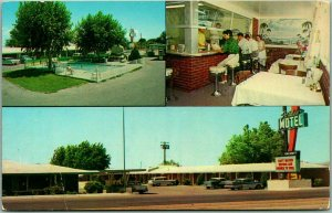 Las Cruces, New Mexico Postcard PARADISE MOTEL Multi-View Roadside - 1950s Cars