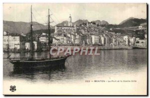 Menton - The Port and the Old Town - Boat - Old Postcard