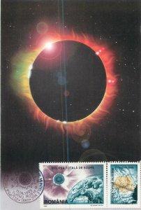 Postcard Romania solar eclips maximum card 11 August 1999 Turnu Ruieni stamp