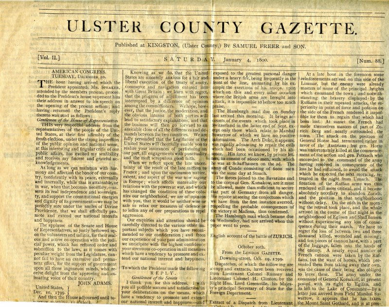 Ulster County Gazette- January 4, 1800. READ FULL DESCRIPTION