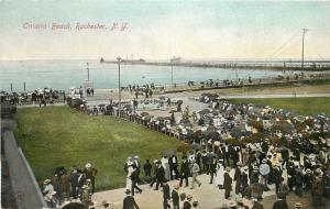 c1910 Postcard Crowds at Ontario Beach, Rochester NY Lake Ontario Monroe County