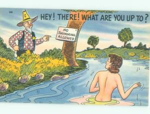 Linen Risque MAN IS ANNOYED THAT NUDE GIRL IS SKINNY-DIPPING AB6710