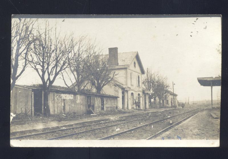 RPPC DUN SUR MUSE FRANCE RAILROAD DEPOT TRAIN STATION REAL PHOTO POSTCARD