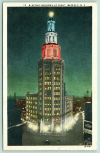 Buffalo New York~Electric Building~Red White Blue Night Lights~1932 Linen