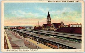 Cheyenne WY Postcard Union Pacific Station Railroad Depot Trackside View Linen