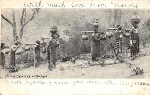 br104385 water carriers at masasi africa real photo nigeria folklore costume