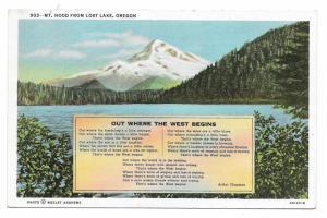 Oregon Mt Hood Lost Lake Western Poet Arthur Chapman Vintage Postcard