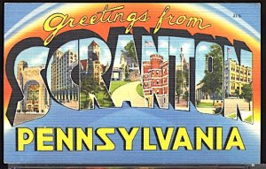 USA Postcard Large Letter Greetings From Scranton Pennsylvania CDS 1941
