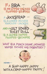 Double Decker Bra Jockstrap Toilet Roll Comic Postcard