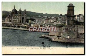 Old Postcard Marseille The Cathedral and Fort St. John