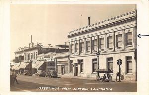 Hanford CA Street View Storefronts Driskell's Appliances Old Cars RPPC Postcard