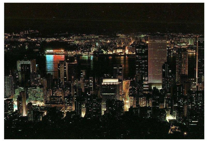 Hong Kong Central District at Night Postcard