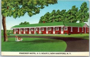 New Hartford, New York Postcard PINECREST MOTEL Route 5 Roadside c1950s Unused