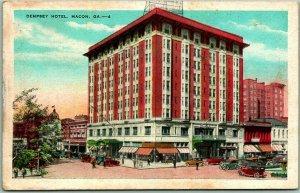 Macon, Georgia Postcard DEMPSEY HOTEL Building / Street View Kropp Linen