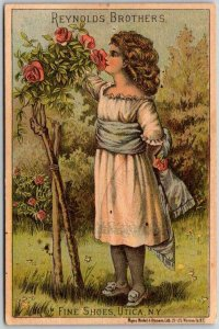 c1890s REYNOLDS BROTHERS SHOES Advertising Trade Card Utica, New York / Unused