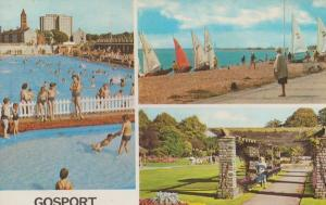 Gosport Hampshire Swimming Pool & Yacht Sailing Boat Boats 1970s Postcard