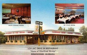 Birmingham Alabama Lou Jac Drive In Restaurant Antique Postcard KK2012