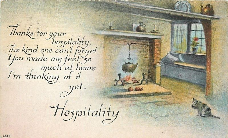 Hospitality Appreciated~Kitten Licks Paw~Pot Over Fire In Fireplace~Andirons