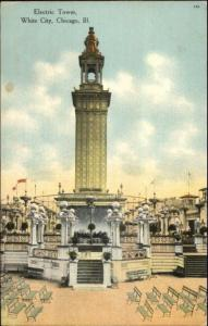 White City Chicago IL Electric Tower c1910 Postcard