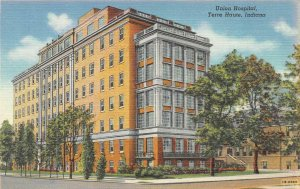TERRE HAUTE, Indiana IN   UNION HOSPITAL   ca1940's Curteich Linen Postcard