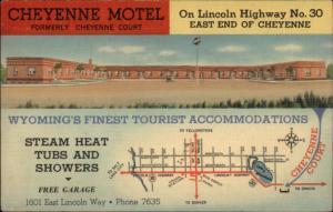 Cheyenne WY Motel & Map LINEN Postcard