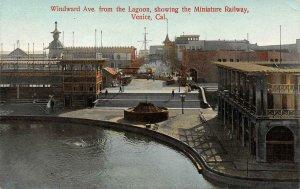 Windward Ave. from Lagoon, Miniature Railway, Venice, CA c1910s Vintage Postcard