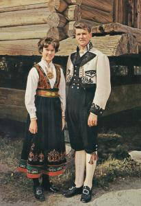 National Costume For East Telemark Norge Norway Vintage Fashion Postcard