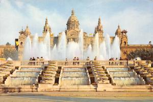Spain Barcelona Montjuich Park Monumental Fountain and National Palace
