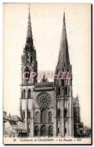 Old Postcard Cathedral of Chartres The front
