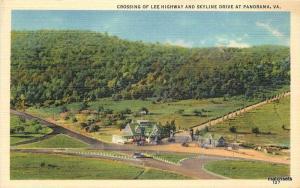 1940s Crossing Lee Highway Skyline Panorama Virginia Marken Bielfield 5513