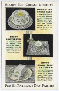 Hood's Ice Cream Desserts St Patrick's Day Rare Linen Postcard
