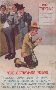 Scotsmans Prayer Scottish Silver Coin No Treating Sign Antique Comic Postcard