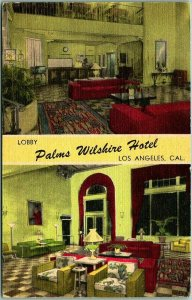 1950 Los Angeles Linen Postcard PALMS WILSHIRE HOTEL Two Lobby Views Linen